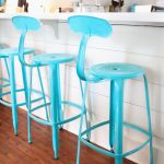 Amazing Nice Unique Cool Turquoise Bar Stool With Back Concept And Has Iron Made With Round Surface And Four Legs