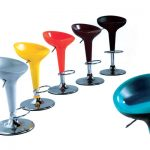 Modern Cool Adorable Nice Turquoise Bar Stool With Cup Desing With Single Legs For Modern Bar Design