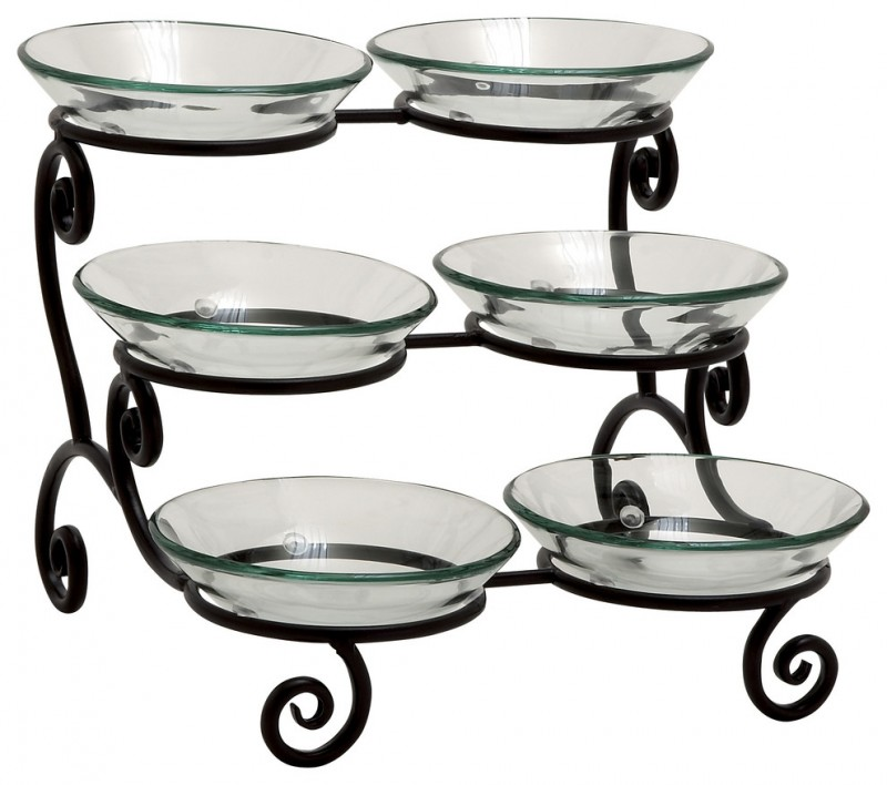 6 glass platter in three tier serving stand