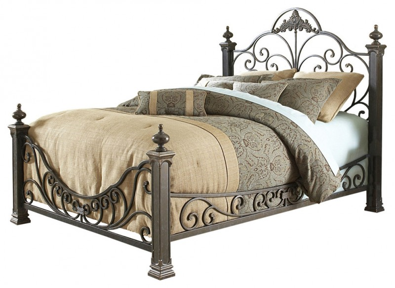 Baroque hue gold metal bed frame with florid and ornate headboard footboard sturdy legs