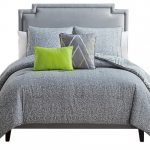 Contemporary Teal And Gray Bedding With Pattern And One Light Green Pillow
