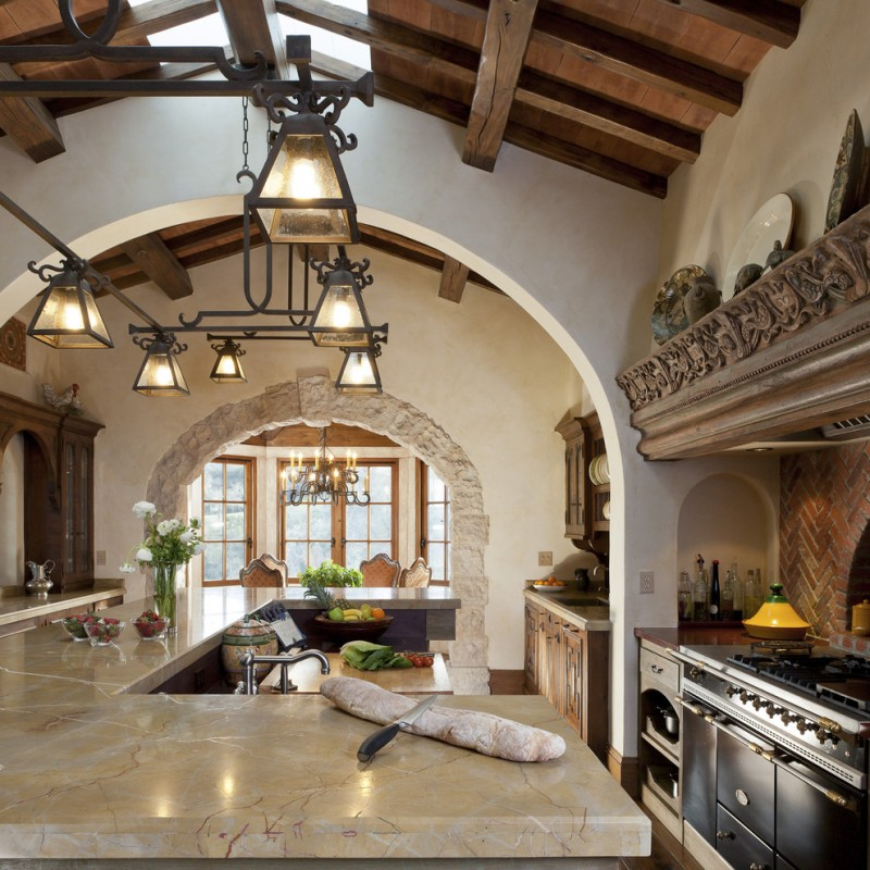 mediterranean kitchen design countertop chandelier hanging lights cabinet plate big windows