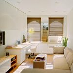 L Shaped Cream Sofa Minimalist Wooden TV Console Floating TV Installation Modern Working Desk Modern White Working Chair