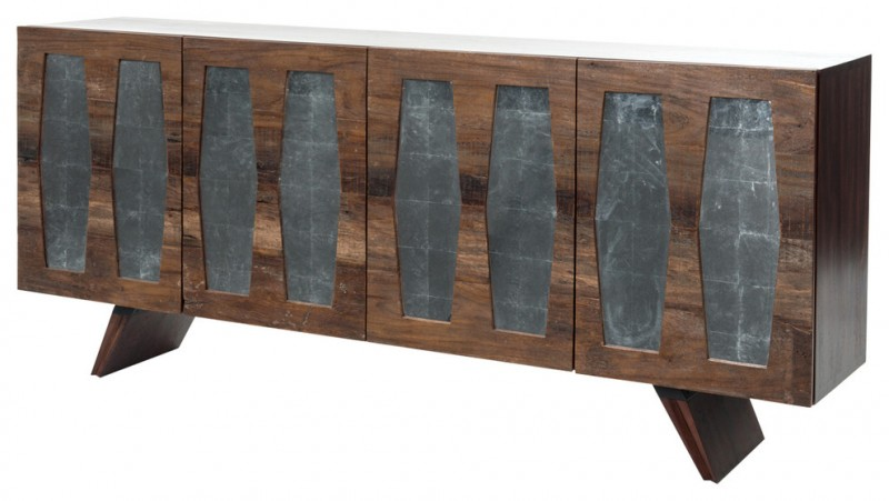 Retro angular antiqued mirrored TV consoles with rugged industrial charm rich brown distressed wooden frame doors