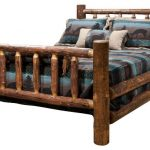 Rustic Brown American wooden bed made in Spindle Style