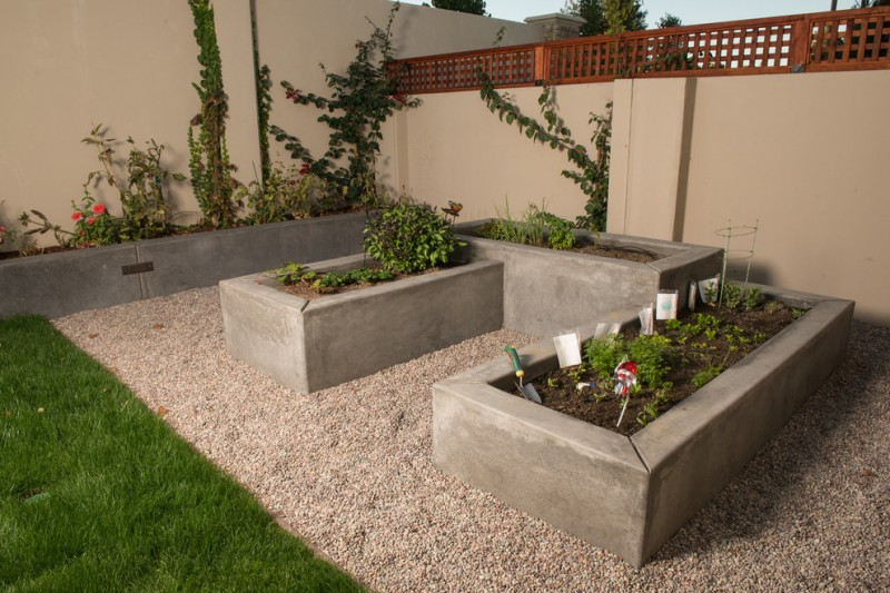 Three Small Square Concrete Planter Boxes