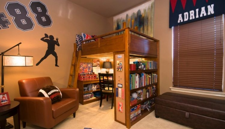 Traditional brown loft bed with 4 rows shelf and a desk under
