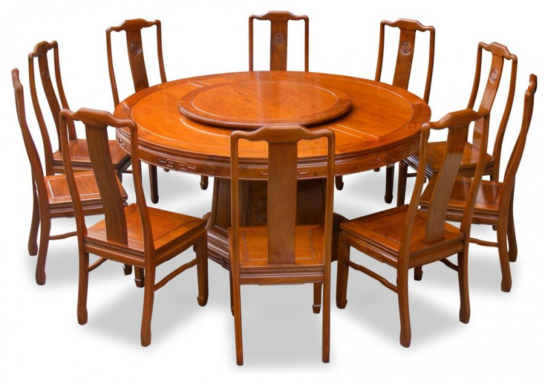 asian brown polished rosewood round dining table with 10 chairs