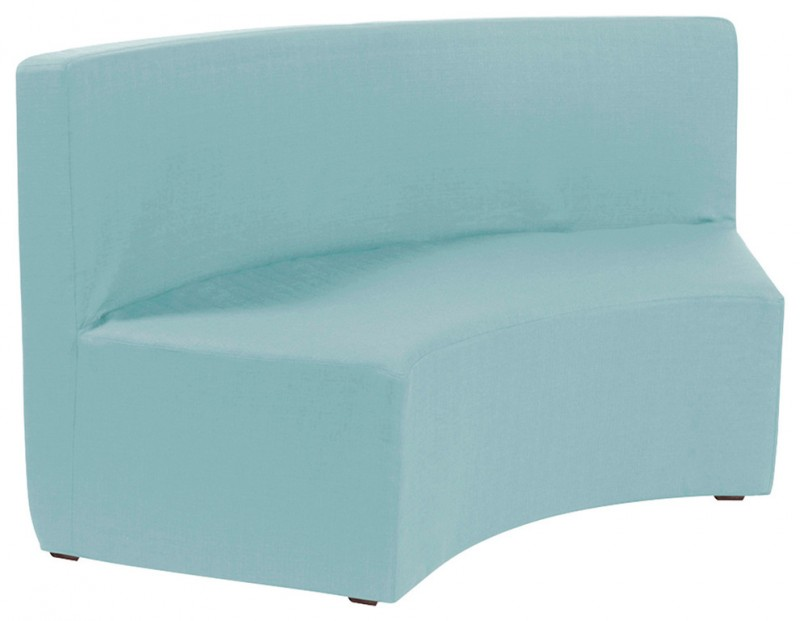 baby blue polyster upholstered bench