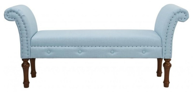 baby blue woven upholstered bench