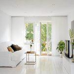 Beautiful White Sofa Slipcover Decorative Pillows Minimalist Coffee Table