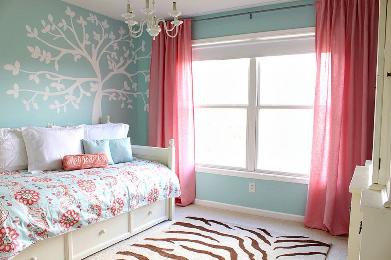 bedding in turquoise and coral pattern comforter Girl Room