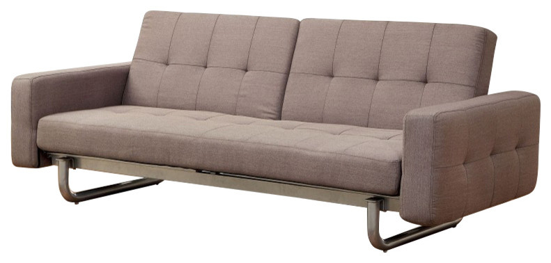 beige futon chair bed with tufted accent