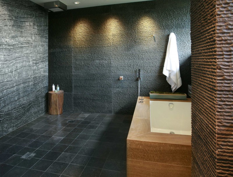 black and brown textured granite wall horizotally curved grey marble wall splendid wooden bathtub simple black floor tiles