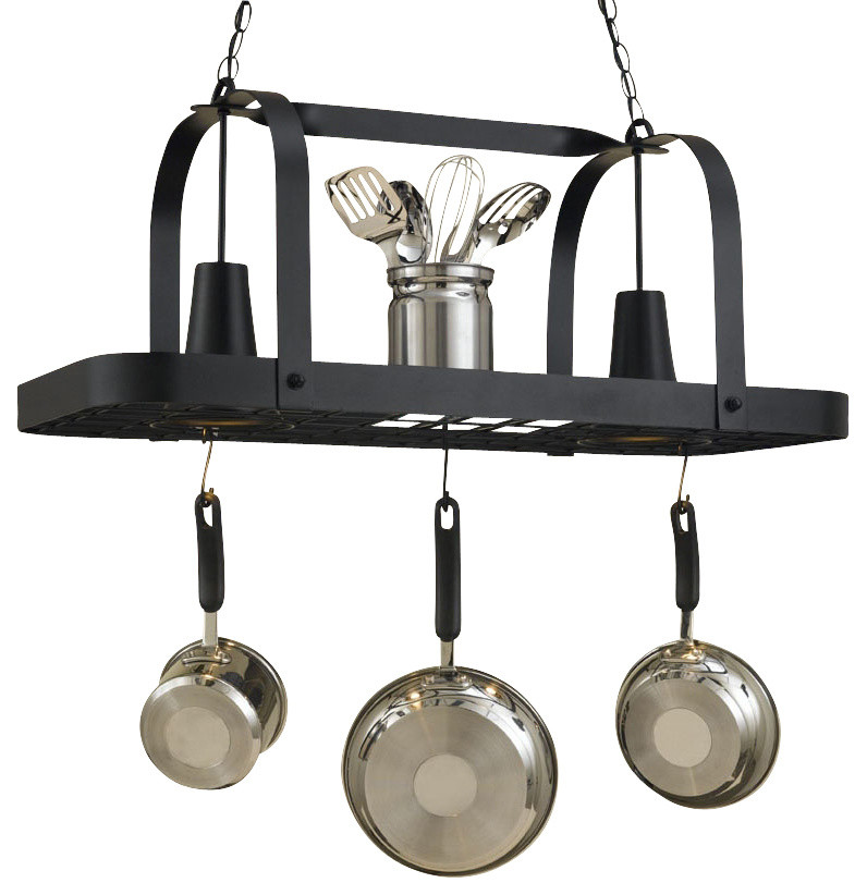 black leather hanged pot racks
