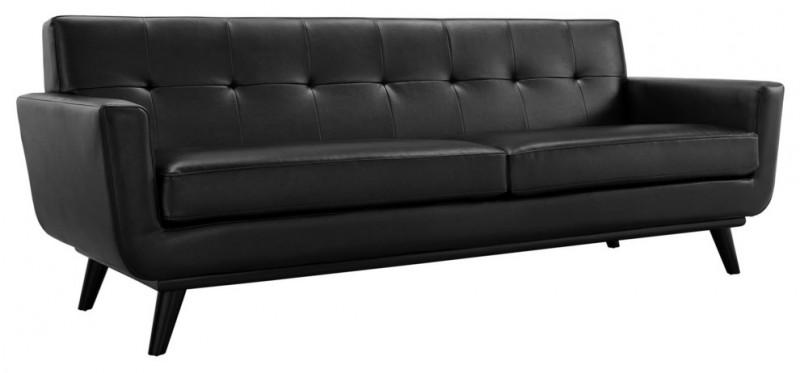 black leather slopping sofa