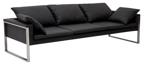 black leather sofa with loose back cushions, toss pillows and thin line seat cushions and stainless steel legs
