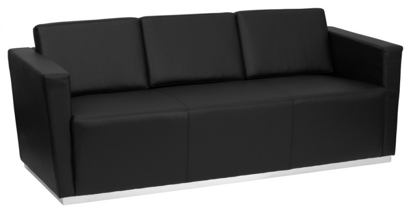 black leather sofa with stainless steel base