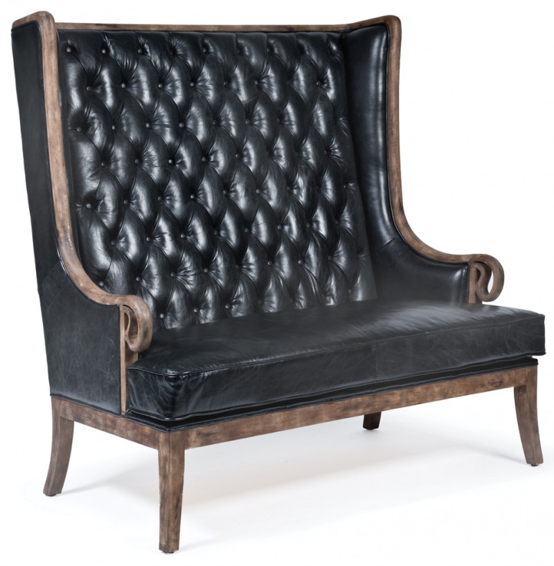 black leather sofa with tufted back and wooden edges