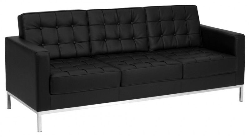 black leather sofa with tufted button and stainless steel legs