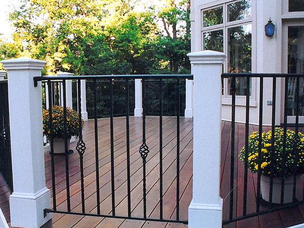 black metal deck vertical railing with accent