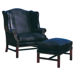 black one and a half chair with ottoman
