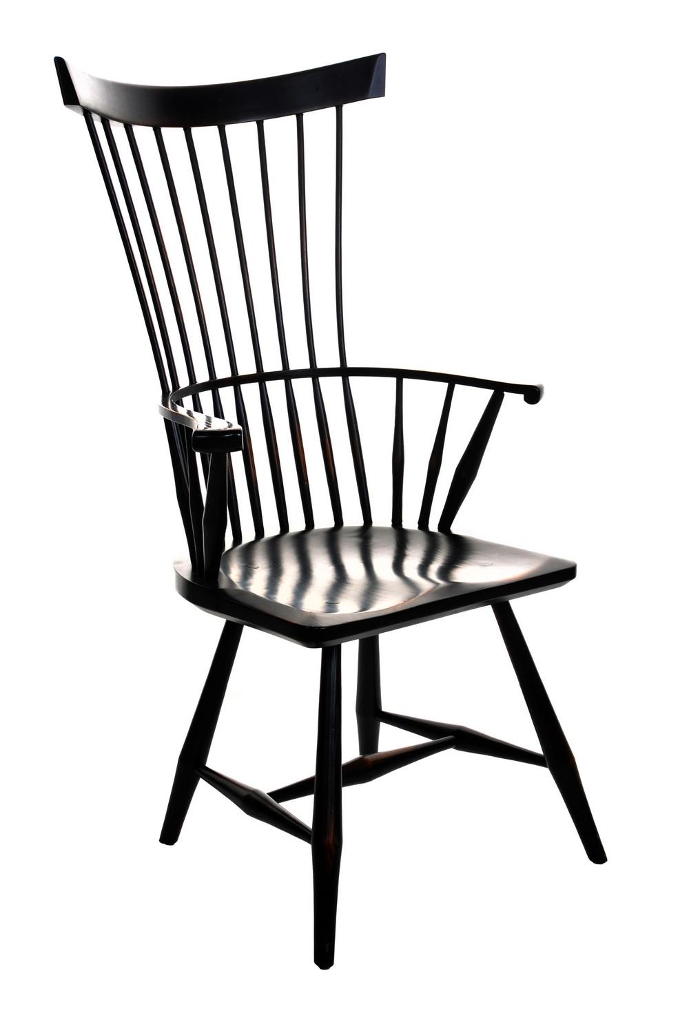 Exceptionnel Black Painted Vintage Modern Windsor Chair
