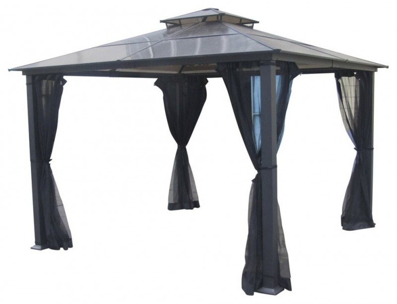 black roof and curtain aluminum gazebo kit