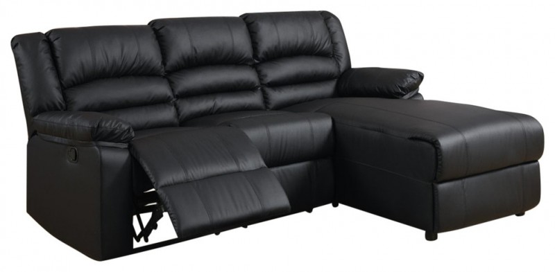 black sectional sofa with recliners