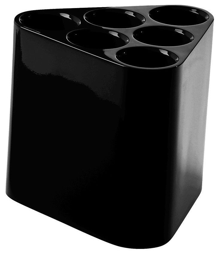 black tringular prism shaped umbrella stand with six holes