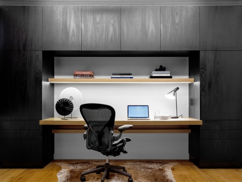 Black Wall Contemporary Office Carpet Office Chair Wooden Floor Wall  Bookshelf Working Lamp Modern Office Table