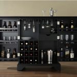 black wooden liquor cabinet