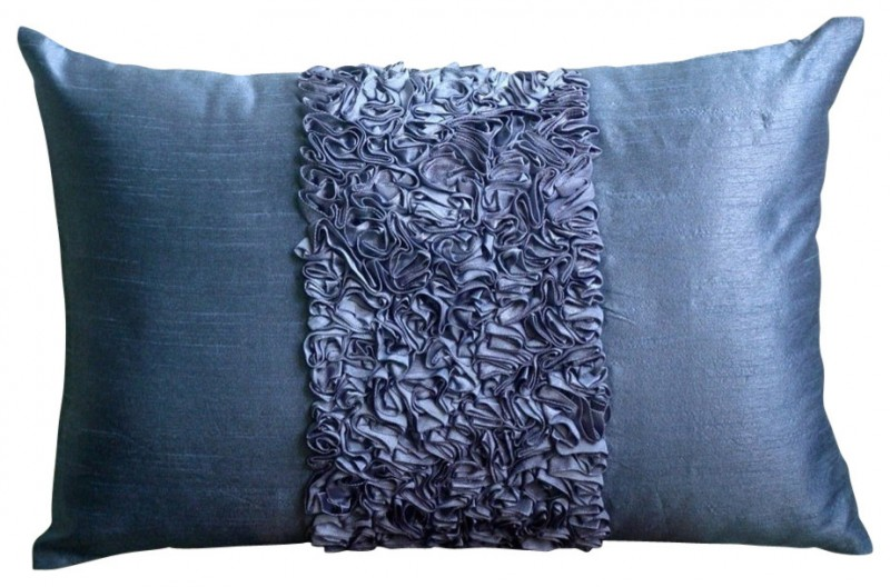 blue art silk textured throw pillow