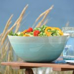 blue clear big bamboo salad bowl