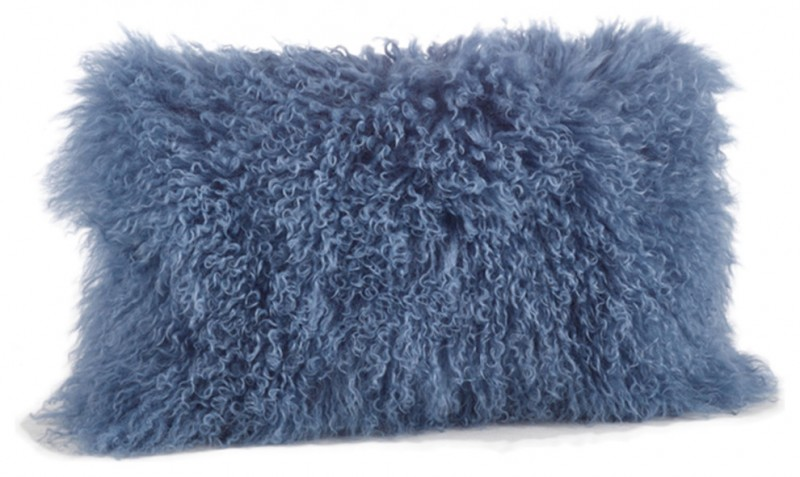 blue lamb fur textured throw pillow