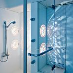 blue light and large high end plumbing fixtures