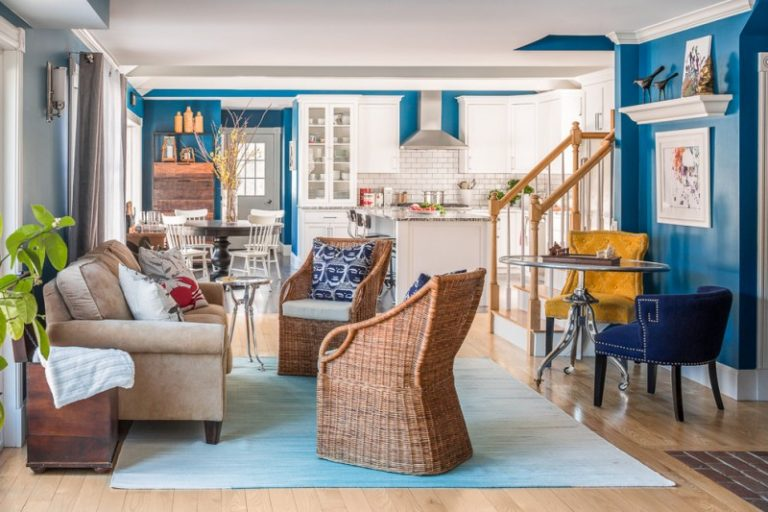 Blue Sitting Room Ideas Part - 48: Blue Living Room Ideas Blue Carpet Wooden Floor Blue Walls Paintings Rattan  Wall Lamp Sofa Pillow