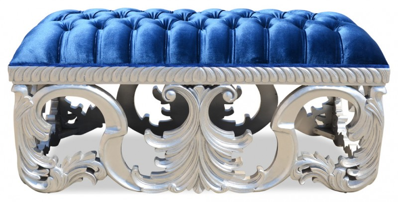 blue velvet upholster silver classic bench