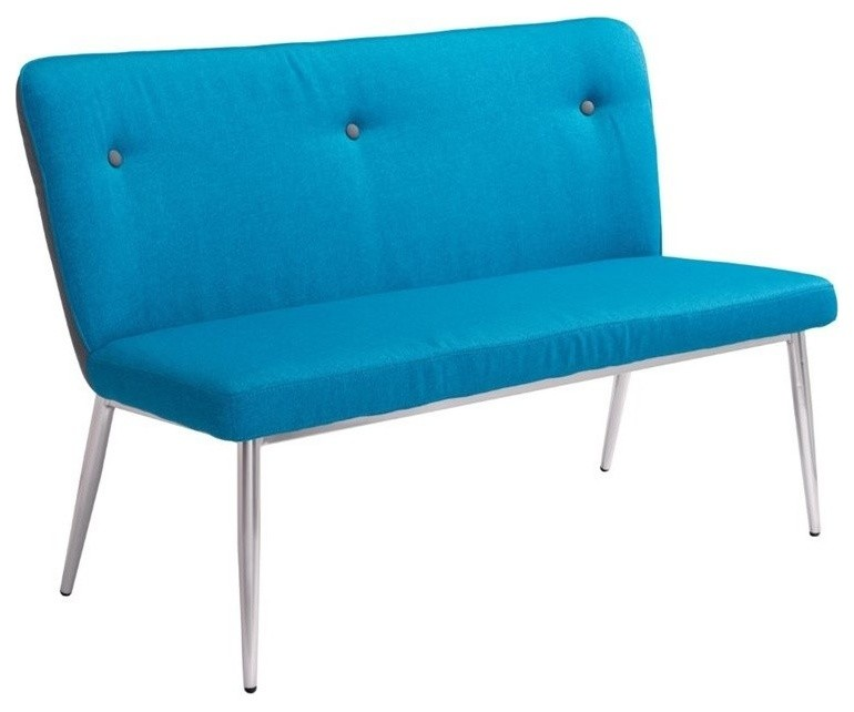 bright blue bench with tufted button upholstere