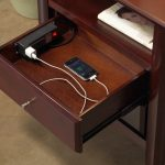 Brown Inside Drawer Nightstand Charging Station
