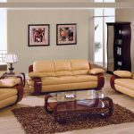 Brown Leather Comfy Sofa With Laminated Wood Arm Rest Brown A Rug Varnished Wood Display