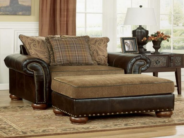Oversized Chair And Ottoman Leather