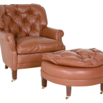 Brown One And A Half Chair With Ottoman