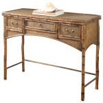 Brown Rattan Console Table With Three Drawers