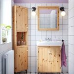 brown raw wooden small corner cabinet for bathroom