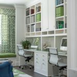 built in white cabinet open functional bookshelves modern task chair green wool rug