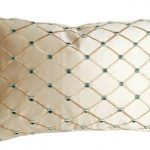 Champagne Colored Textured Throw Pillow With Diamond Accentuated