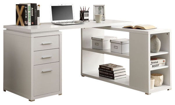 computer desk white colored office desk adjustable multiple shelves 3 drawer desk