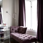 contemporary living room purple velvet curtains purple sofa white window furry white rug