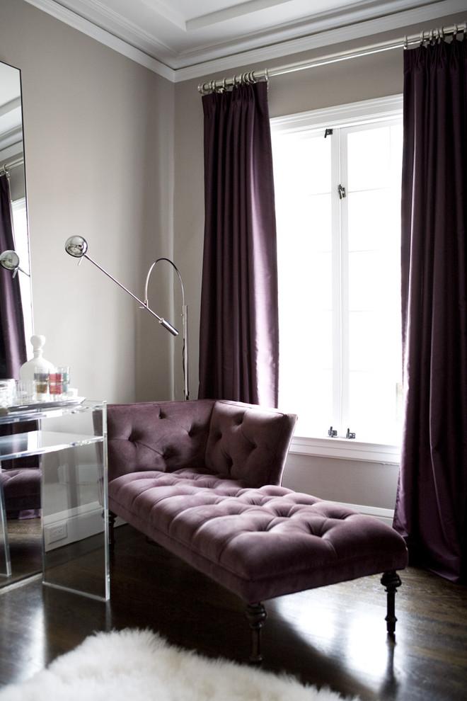 contemporary living room purple velvet curtains purple sofa white window furry white rug